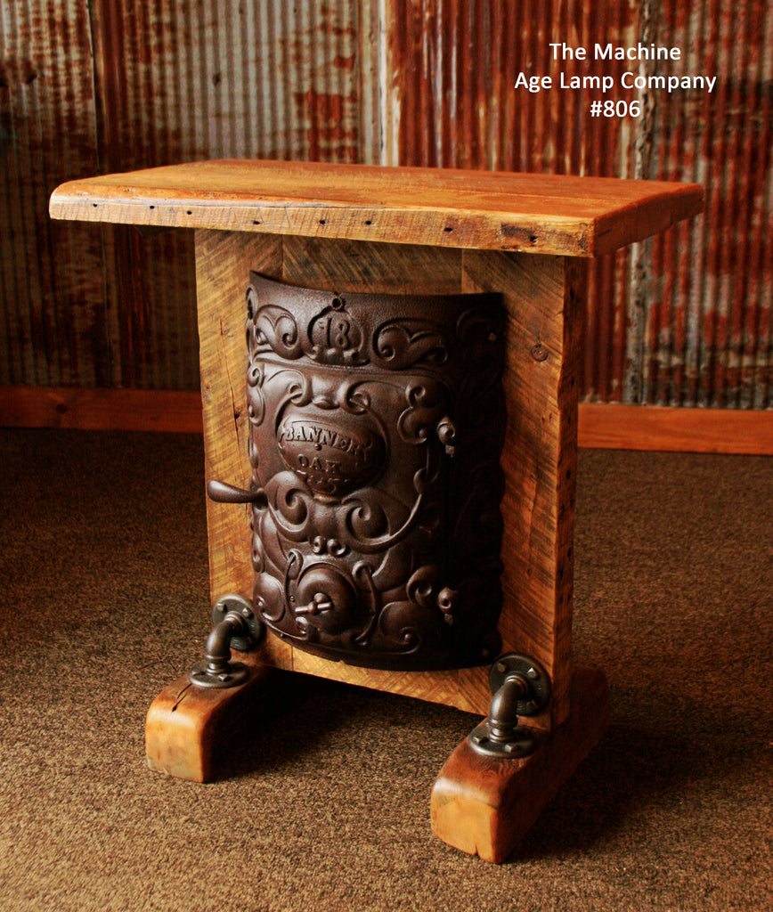 Steampunk Industrial Table or Lamp Stand, Round Oak Stove Door, Barn wood - #806 -SOLD