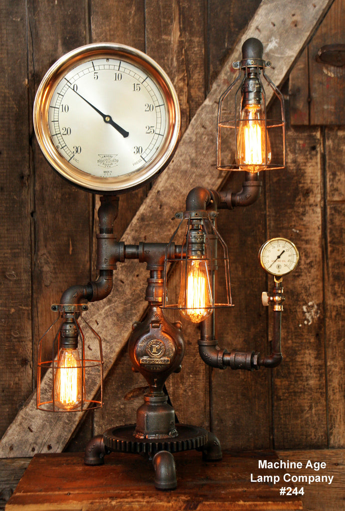 Steampunk Industrial Lamp, Steam Gauge #244 - SOLD