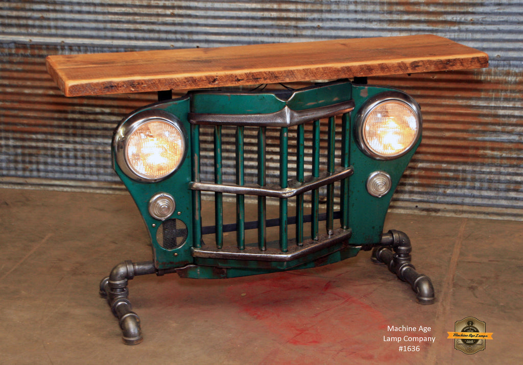 Steampunk Industrial / Original vintage 50's Jeep Willys Grille / Table Sofa Hallway / Table #1635 - SOLD