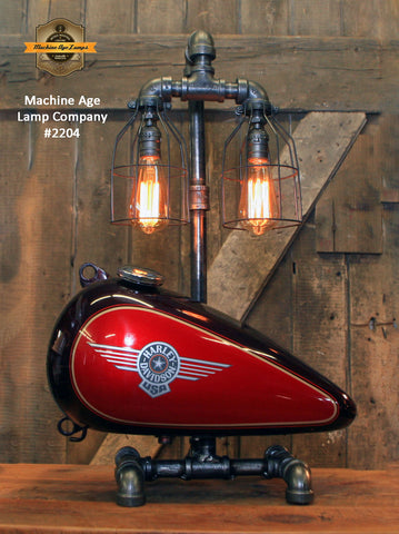 Steampunk Industrial Lamp / Re-Purposed HD Tank / Authentic Motorcycle Tank / Lamp #2204