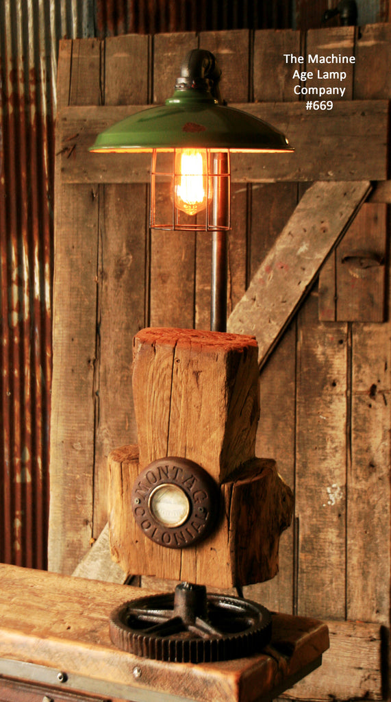 Steampunk Industrial Vintage Cabin Wood and Gear Lamp, Light , #669 - SOLD