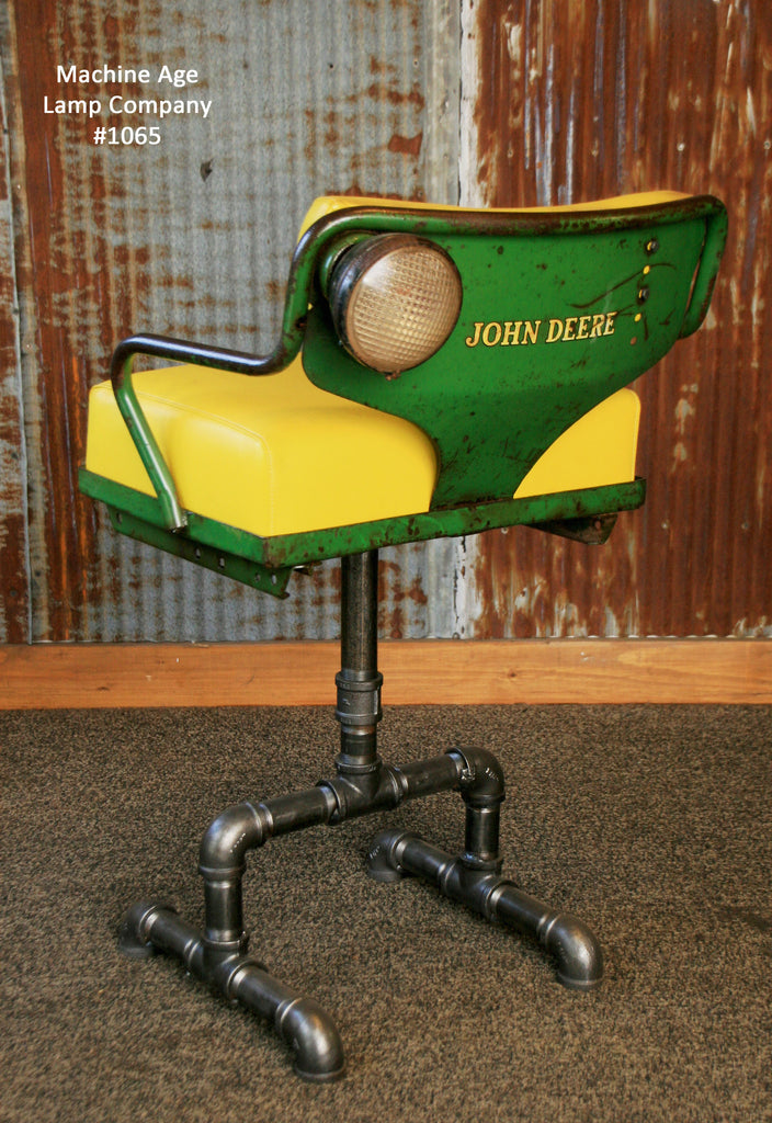 Steampunk Industrial Antique John Deere Tractor Farm Chair Chairs Bar