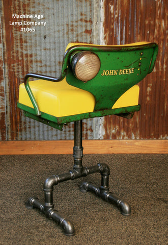 Steampunk Industrial Antique John Deere Tractor farm Chair Chairs Bar Stool #1065