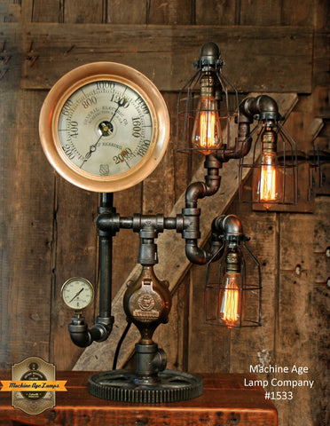 Steampunk Industrial / New York / Steam Gauge / Lamp #1533 - SOLD