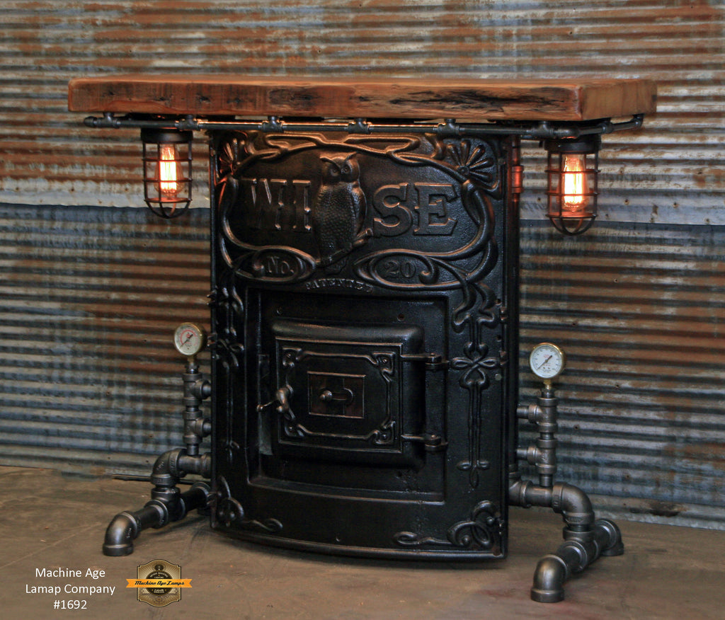 Steampunk Industrial / Wise Boiler Door Table / Barn Wood / Bar / Pub / Table #1692