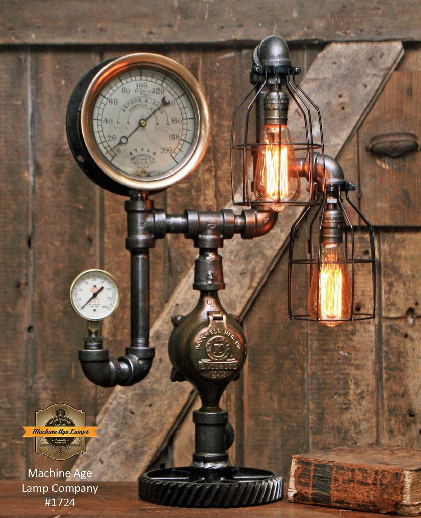 Vintage Light Fixtures Minneapolis: Steampunk Industrial / Antique Steam Gauge Lamp