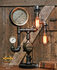 Steampunk Industrial / Antique Steam Gauge Lamp / Minneapolis MN USA / Lamp #1724 sold