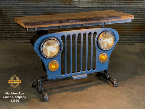 Industrial Antique / Jeep CJ Willys Grille Table / Automotive /  Barnwood Top - #3096