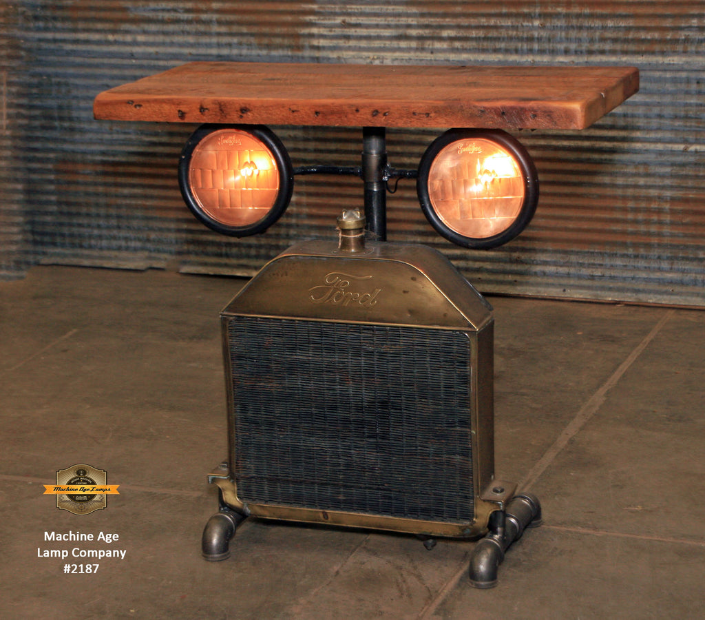 Steampunk Industrial Table / Antique Ford Model T Radiator and Headlamps / Automotive  / Barnwood / Table #2187