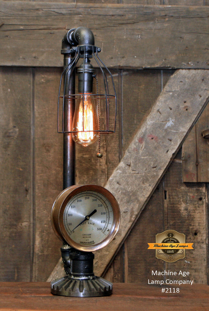 Steampunk Industrial Lamp / Antique Steam Test Gauge / Gear / Boston / Lamp #2118