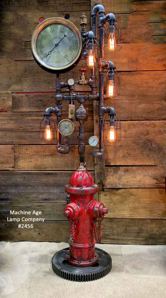 Steampunk Industrial Fire Hydrant, Steam Gauge Floor Lamp #2456