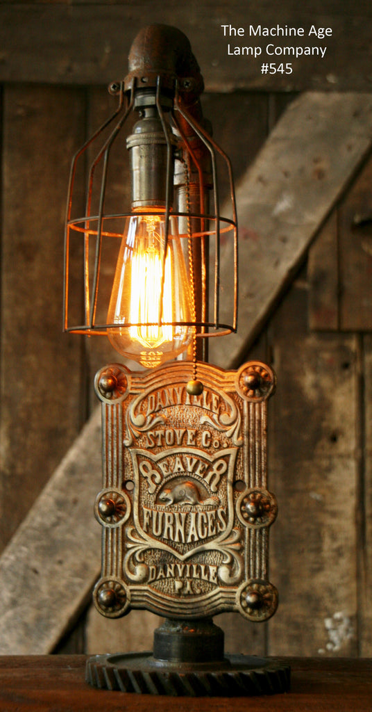 Steampunk Lamp, Antique Stove Door and Gear Base #545 - SOLD
