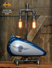 Steampunk Industrial Lamp / Re-Purposed HD Tank / Authentic Motorcycle Tank / Lamp #2181