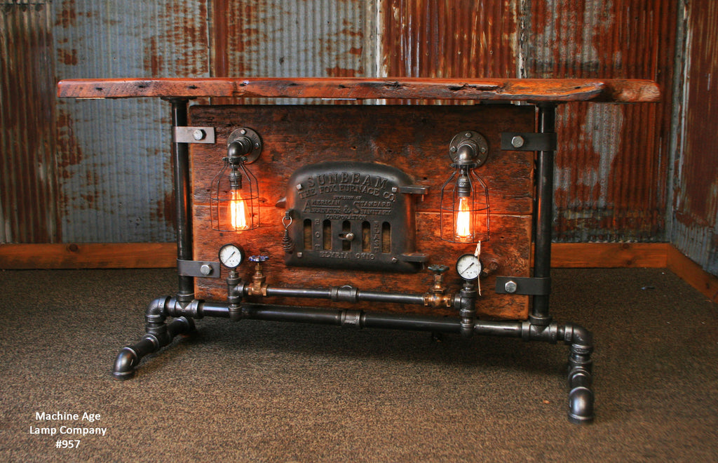 Steampunk Industrial Table / Console / Elyria Ohio / Sunbeam / Stove Door / #957 sold