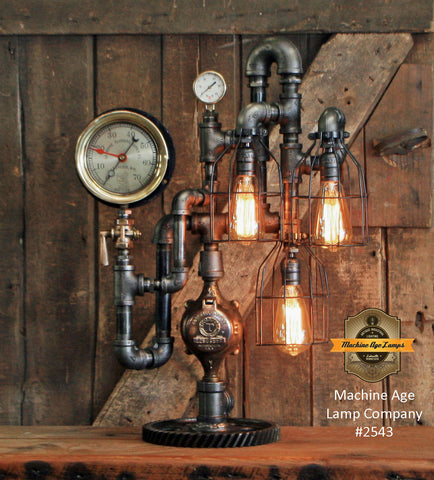 Steampunk Industrial Machine Age Lamp / Steam Gauge / Gear / Lamp #2543