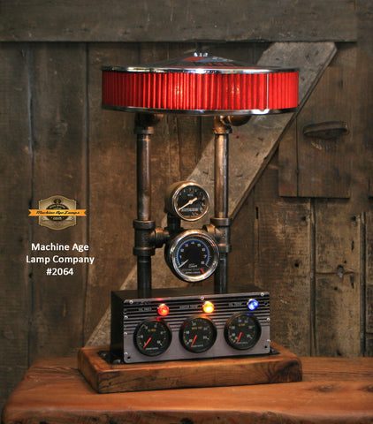 Steampunk Industrial / Automotive / Air cleaner / Vintage Gauges / Lamp #2064