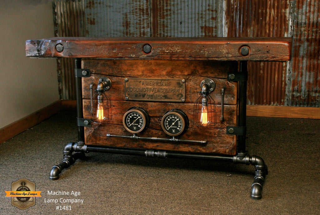 Steampunk Industrial Steam Locomotive Railroad Gauge Table / Barn Wood #1481 - SOLD