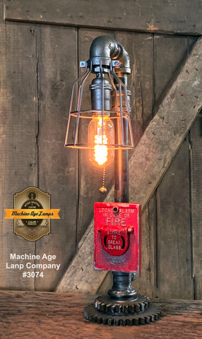 Steampunk Industrial / Fire Alarm Switch / Gear Base / Fireman / #3074