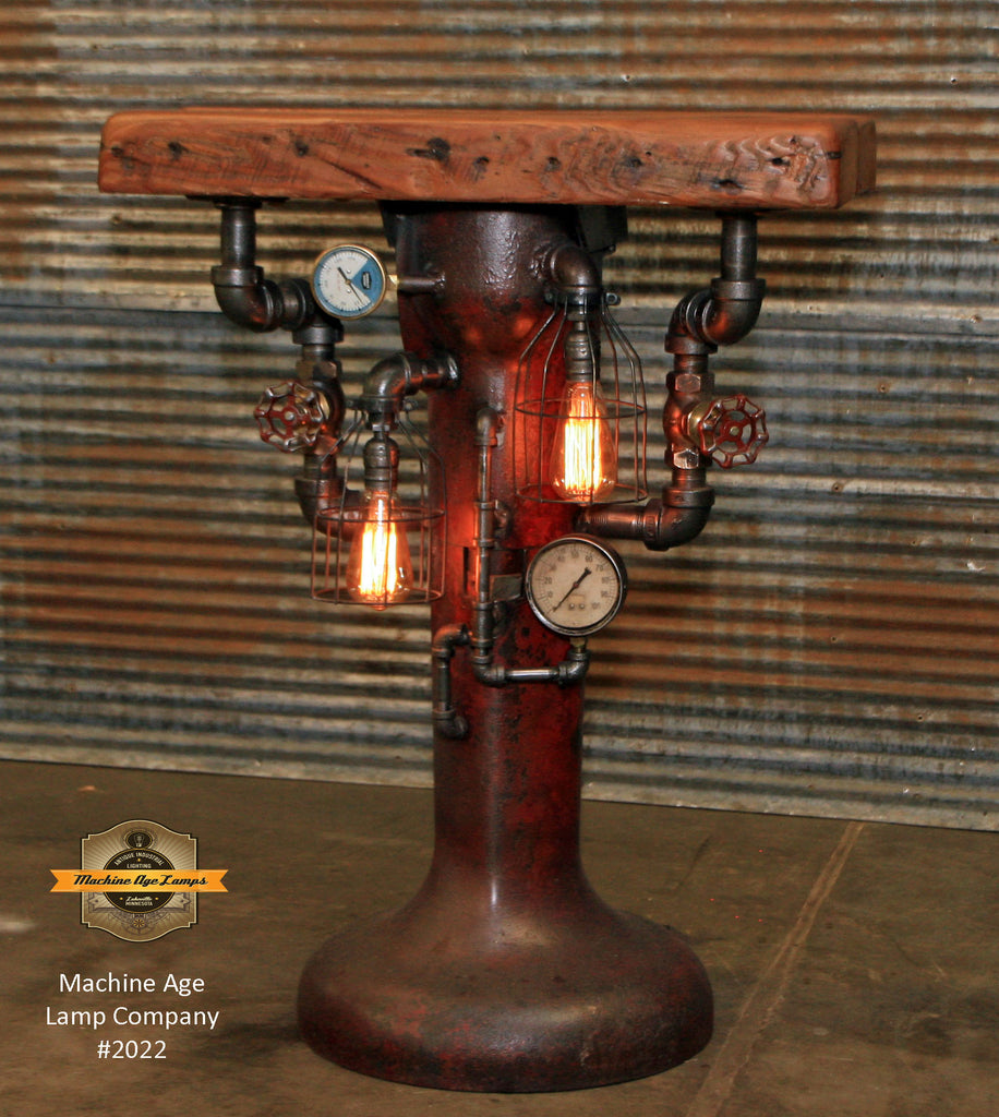 Steampunk Industrial Table / Antique Cream Separator Base / Barnwood / Hostess Stand / Table #2010
