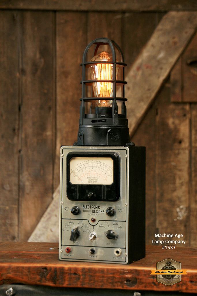 Steampunk Industrial / Antique Electrical Test Meter / Lamp #1537 sold