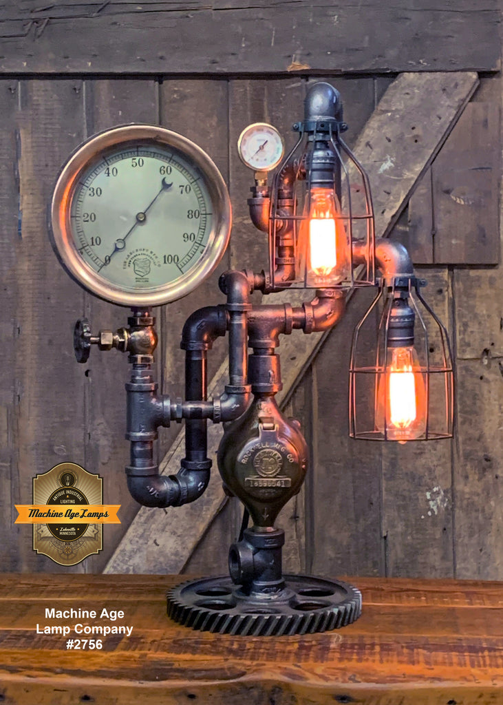 Steampunk Industrial / Machine Age Lamp / Antique Steam Gauge   / Lamp #2756