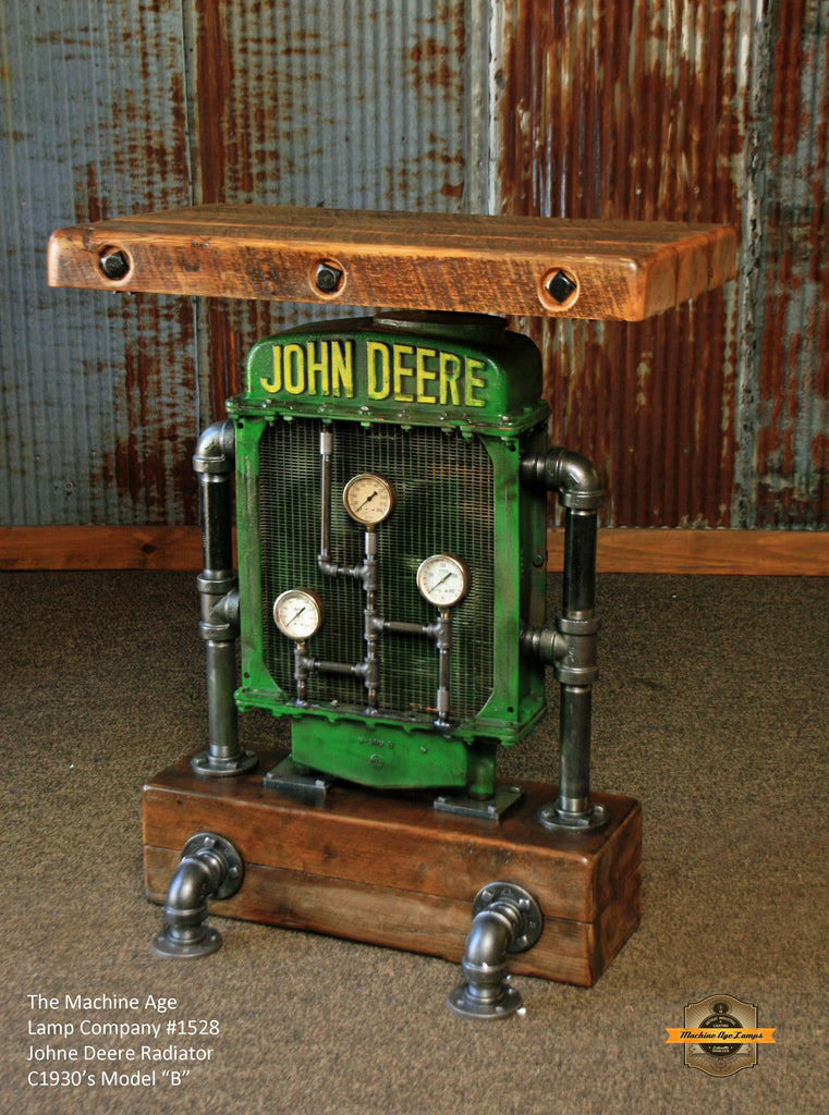 Vingage John Deere Table Lamps : Antique steampunk industrial table stand hostess station