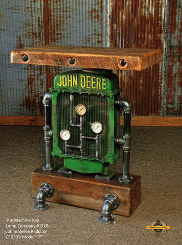 Antique Steampunk Industrial Table Stand, Hostess Station, Pub Table, Reclaimed Wood , John Deere #1504