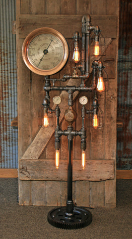 Steampunk Industrial / Antique Steam Gauge / Heine Boiler Company / St Louis / Floor Lamp #1543