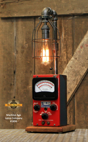 Steampunk Industrial / Antique Sun Meter / Automotive Car Garage / Lamp #1896