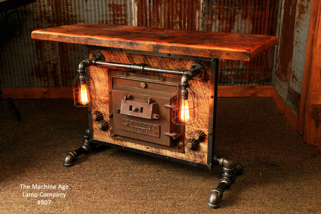 Steampunk Industrial Table or Lamp Stand, Antique Stove Door and Barn wood - #807 - SOLD