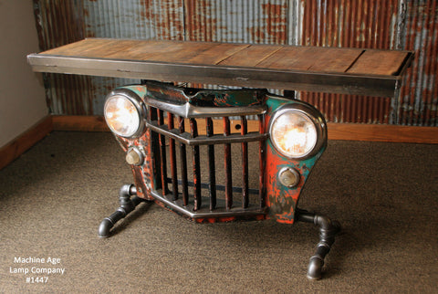 Steampunk Industrial Antique Jeep Willys Grille Table, Console - #1447