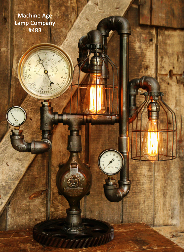 Steampunk Lamp, Antique Steam Gauge Gear Industrial light, #483