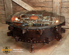 Antique Tractor Wheel Coffee Table / 1940's Steel Wheel / Farm / Farmall  #DC 1722 sold