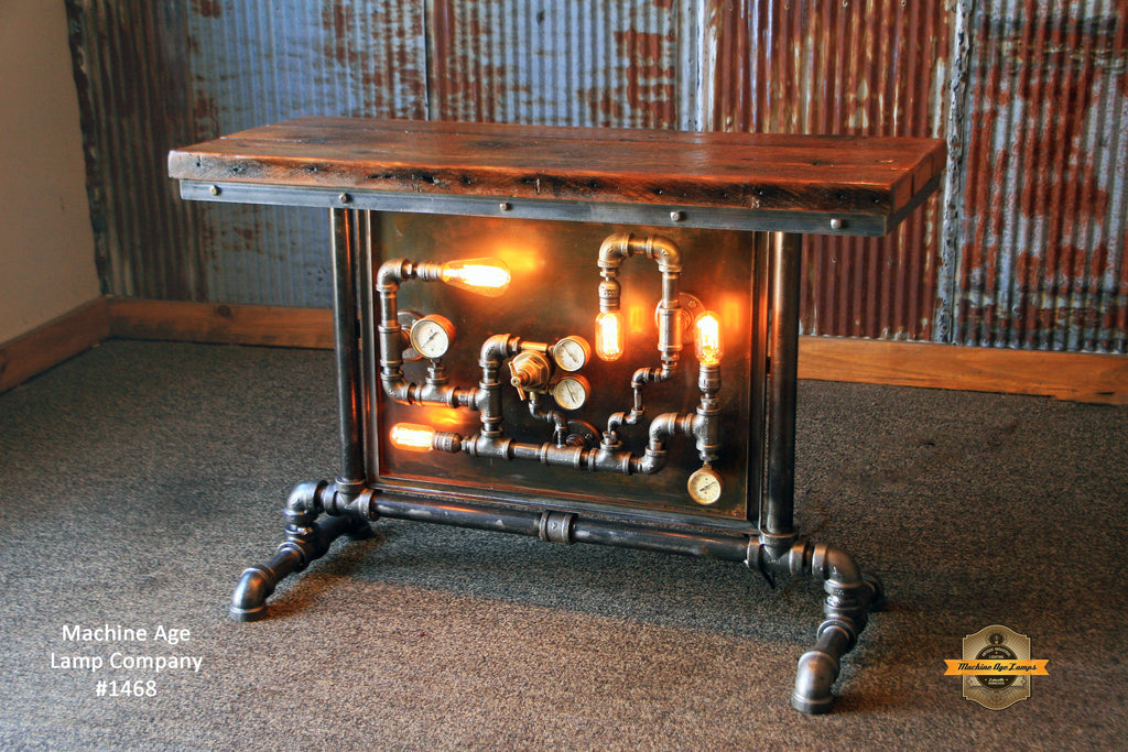 Steampunk Industrial Table Pipes Steam Gauge Barn