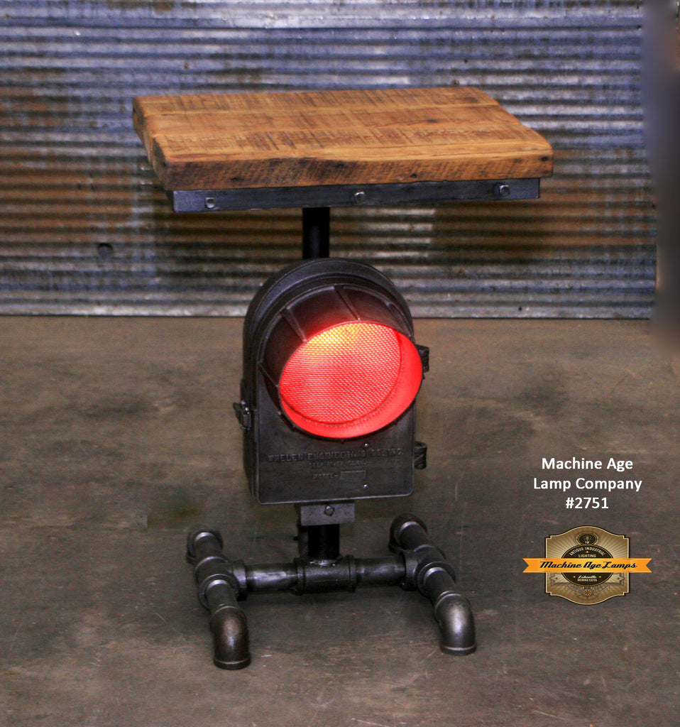 Antique Steampunk Industrial Railroad Train Crossing Light / Table Stand, Reclaimed Wood Top - #2719 sold