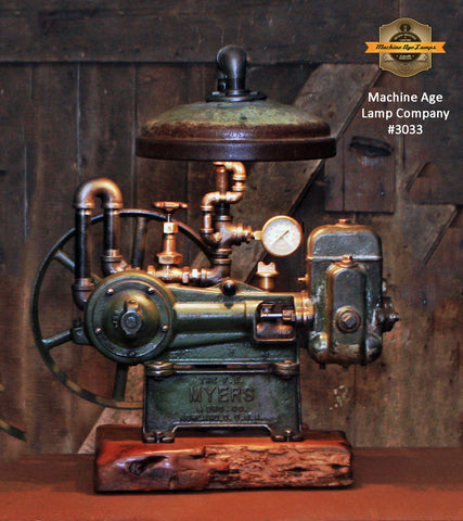 Steampunk Industrial / Machine Age Lamp / Antique F.E. Myers  / Well Pump / Farm  / Barnwood / #3033
