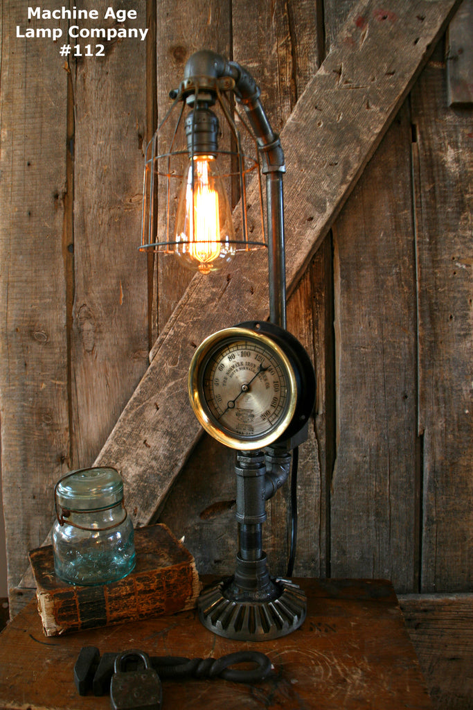 SteamPunk Lamp, Machine Age Lamp, Steam Gauge Iron Works - #112 - SOLD