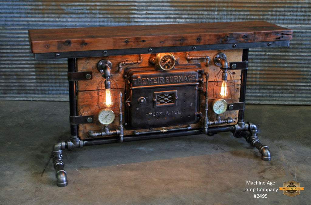 Steampunk Industrial / Antique Boiler Stove Door / Steam Gauge / Barn Wood / table #2495