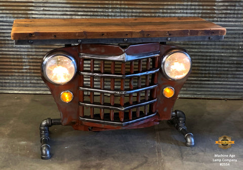 Steampunk Industrial / Automotive / Original vintage 50's Jeep Willys Grille / Table Sofa Hallway / RED /  Table #2654