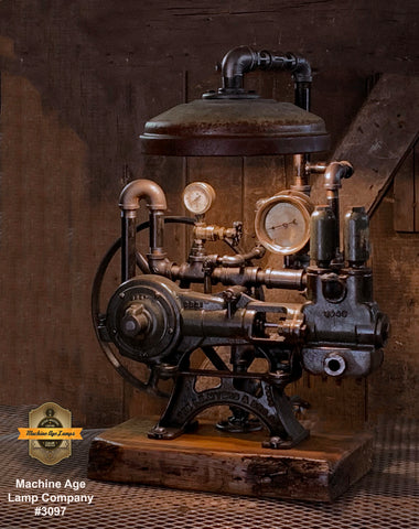 Steampunk Industrial / Machine Age Lamp / Antique F.E. Myers  / Well Pump / Farm  / Barnwood / #3097