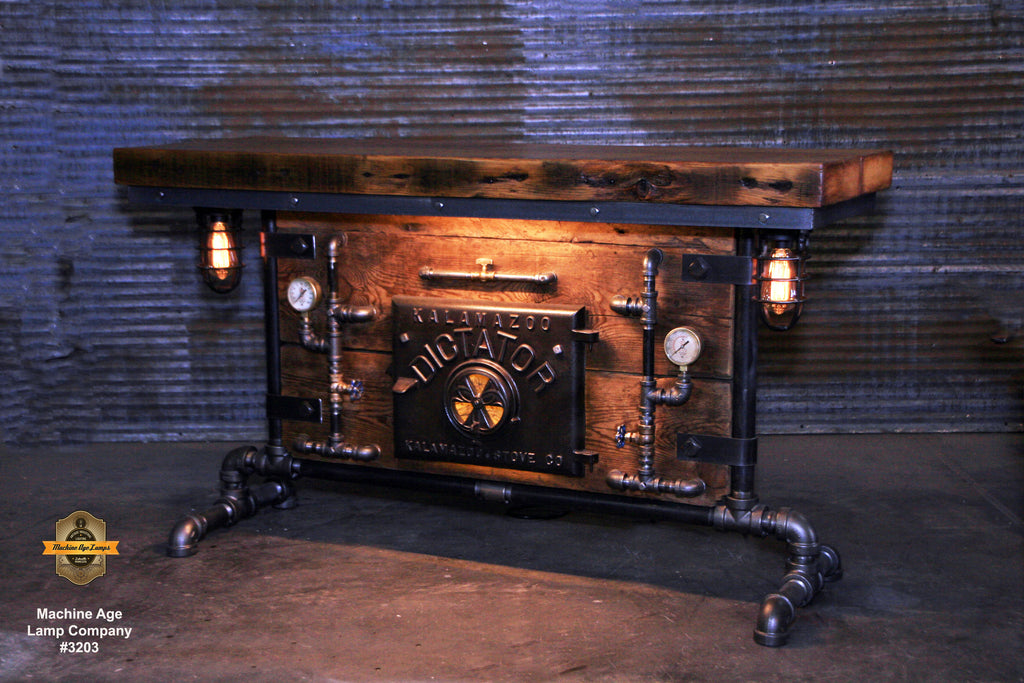 Steampunk Industrial Table / Pub, sofa console / Antique Furnace Door / Barnwood / Table #3203 sold