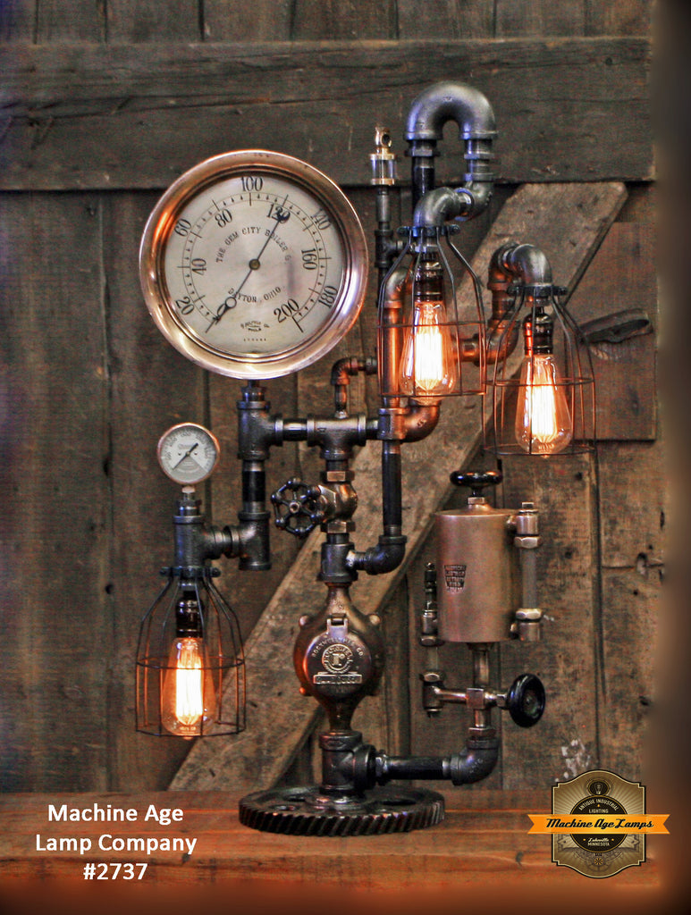 Steampunk Industrial / Antique Steam Gauge and Oiler / Gear / Dayton Ohio /  Lamp #2737