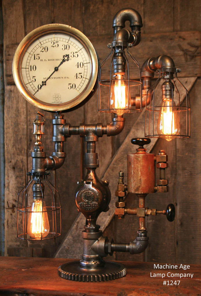 steampunk industrial lamp steam gauge and oiler gear 1247