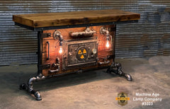 "Steampunk Industrial Table / Pub, sofa console / 55"" / Antique Furnace Door / Steam Gauge / Barnwood / Table #3323"