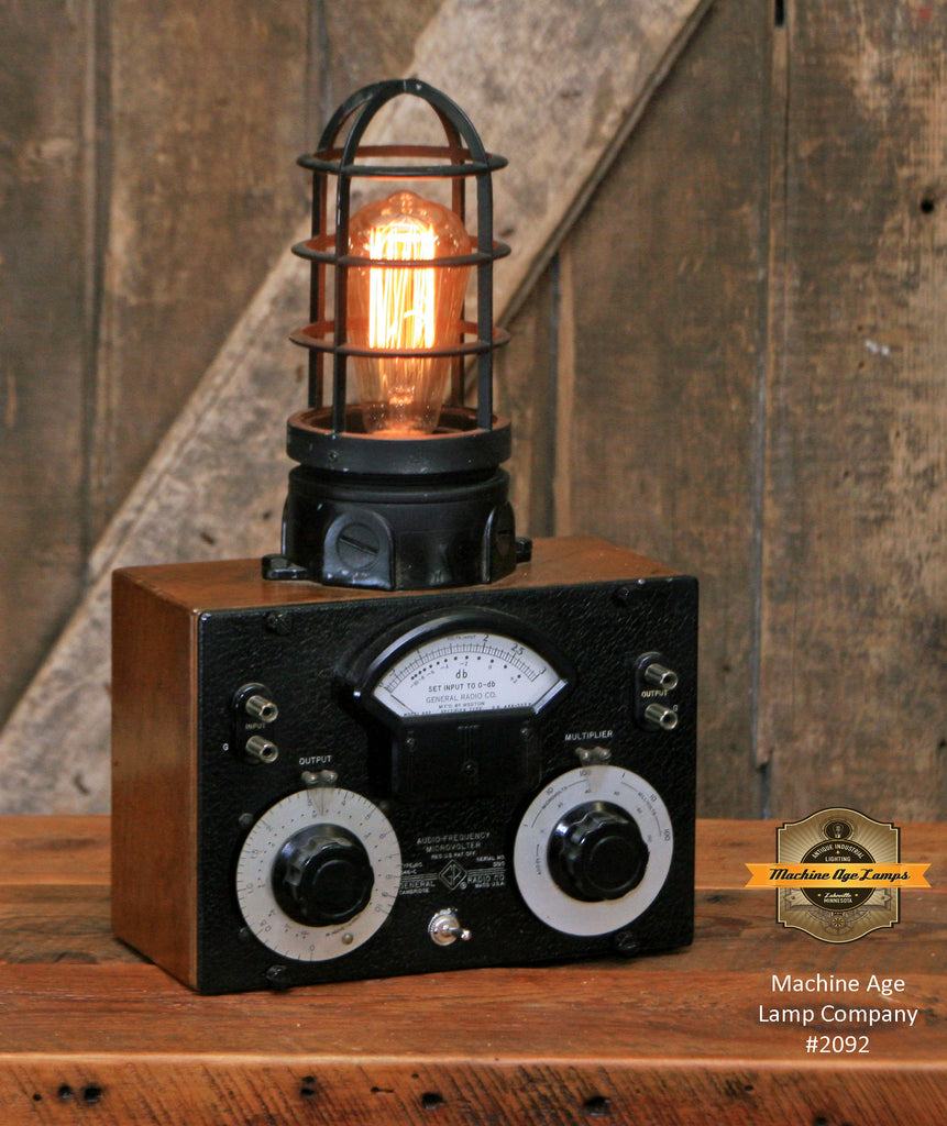 Steampunk Industrial Machine Age Lamp / Wood Box / Electrical Meter Tester / Lamp #2092 sold