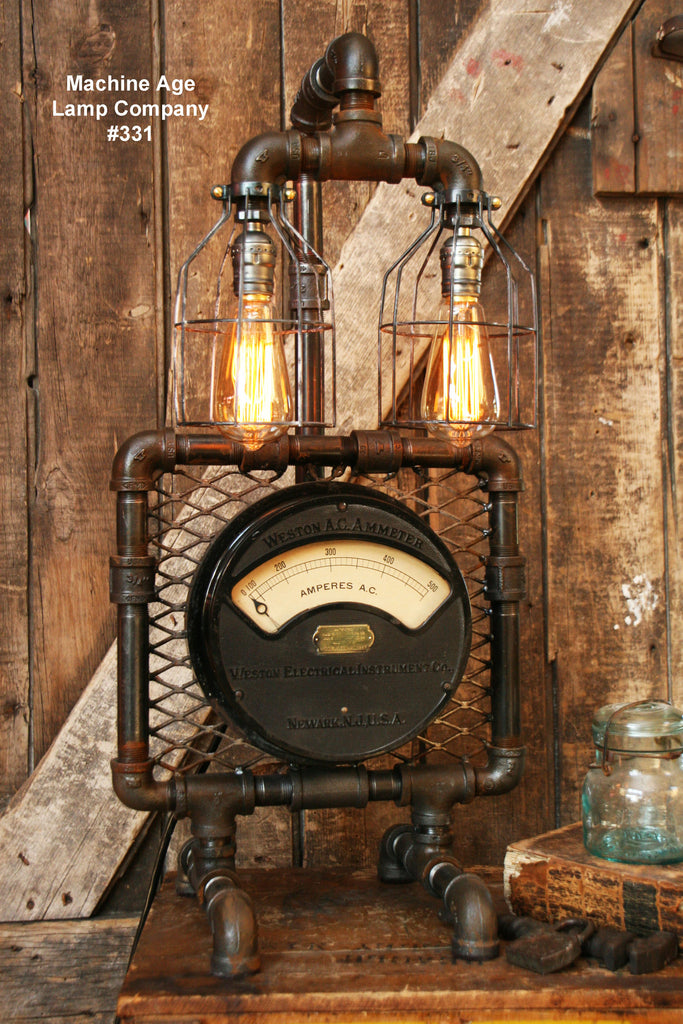 Steampunk Industrial Lamp, Antique AC Meter #331 - SOLD