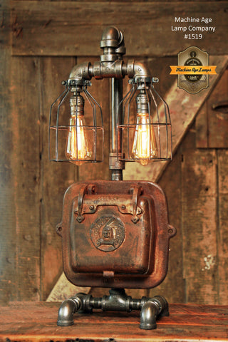 Steampunk Industrial Lamp / Indian  / Stove Door / Round Oak / #1519