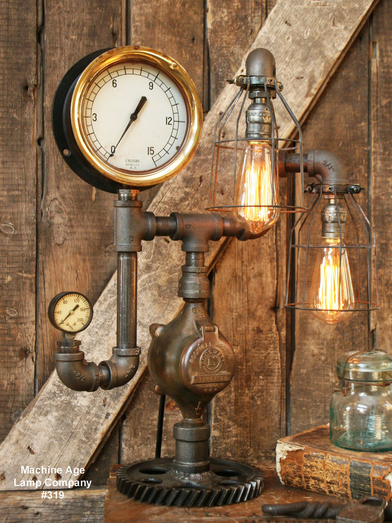"Steampunk Lamp, Antique 6"" Steam Gauge and Gear Base #319 SOLD"