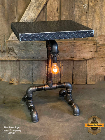 Steampunk Industrial / Lamp Table  / Stand / Diamond Plate Top / Table #3381