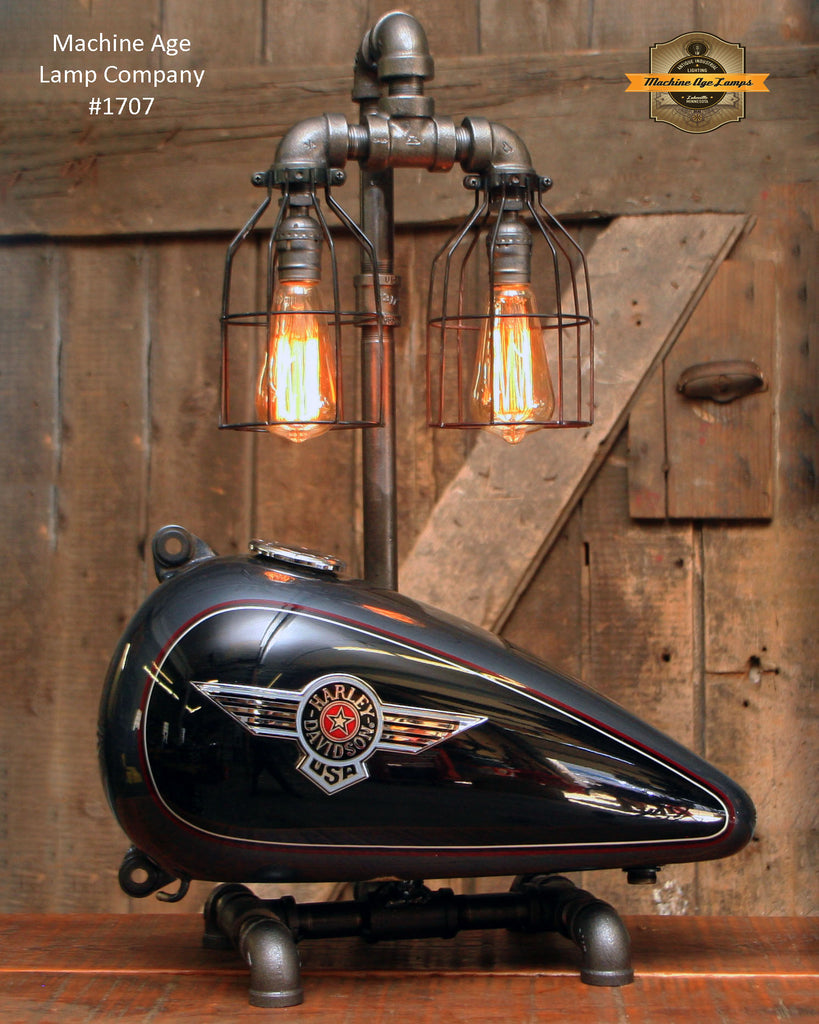 Steampunk Industrial Lamp / Re-Purposed Harley HD Tank / Motorcycle Tank / Lamp #1707 sold